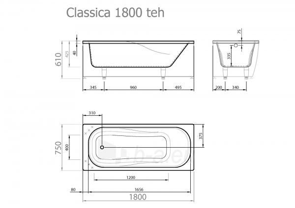 Akmens masės vonia VISPOOL CLASSICA 180x75 stačiakampė balta Paveikslėlis 4 iš 5 270716000126