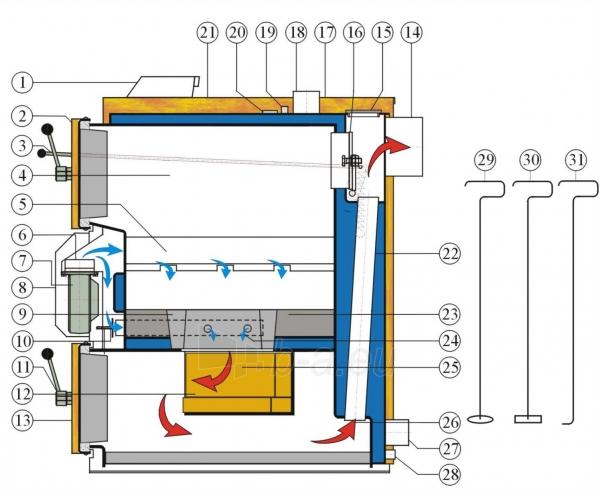 Dujų generacinis kieto kuro katilas VIGAS 25S (5-35 kW) D.P. AK4000 Paveikslėlis 3 iš 3 271322000216