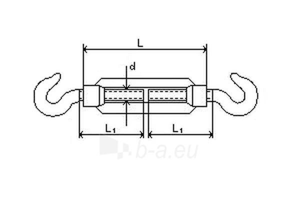 Įtempiklis lynui DIN1480 d-6 (kablys/kablys) Paveikslėlis 2 iš 2 236430800014