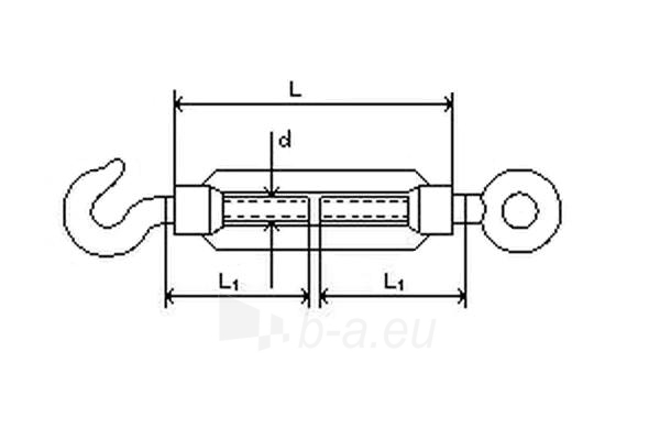 Įtempiklis lynui DIN1480 d-6 (kablys/kilpa) 10 vnt Paveikslėlis 2 iš 2 236430800001
