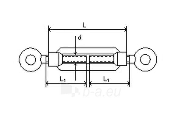 Įtempiklis lynui DIN1480 d-6 (kilpa/kilpa) 10 vnt Paveikslėlis 2 iš 2 236430800027