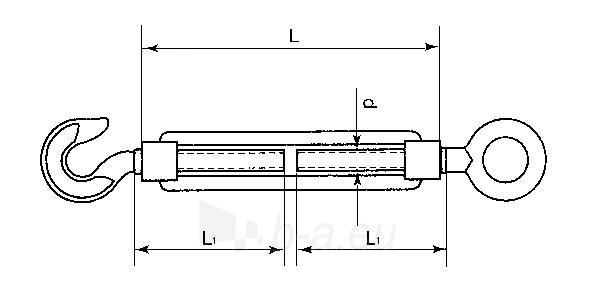 Įtempiklis lynui itališko tipo d-6 (kablys/kilpa) Paveikslėlis 1 iš 1 236430900001