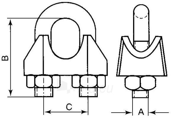 Lyno suspaudiklis DIN741, su grioveliu d-3 Paveikslėlis 1 iš 1 236430100000