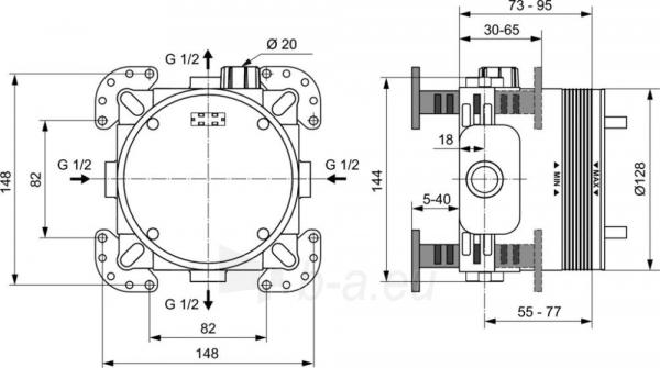 Maišytuvo IDEAL STANDARD potinkinė dalis termostatinė Paveikslėlis 2 iš 2 270790200010