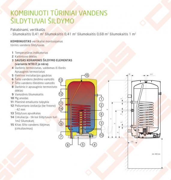 Pakabinamas vertikalus kombinuotas tūrinis vandens šildytuvas DRAŽICE OKC 100/1m2 Paveikslėlis 2 iš 4 271420000039