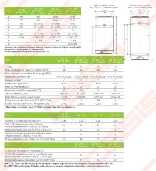 Pakabinamas vertikalus kombinuotas tūrinis vandens šildytuvas DRAŽICE OKC 80 Paveikslėlis 3 iš 4 271420000033