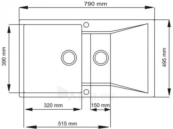 Plautuvė akmens masės TAURUS 790 x 495 Paveikslėlis 2 iš 3 270712000085