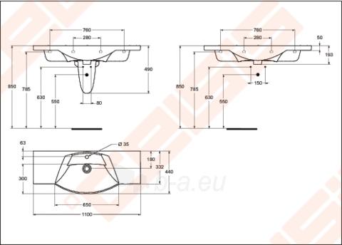 Praustuvas IDEAL STANDARD Motion 110cm Paveikslėlis 6 iš 6 270711000207