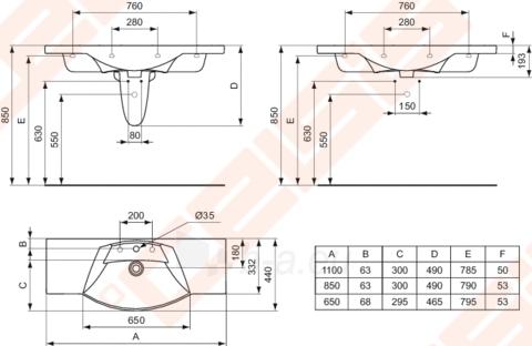 Praustuvas IDEAL STANDARD Motion 85cm Paveikslėlis 2 iš 2 270711000208