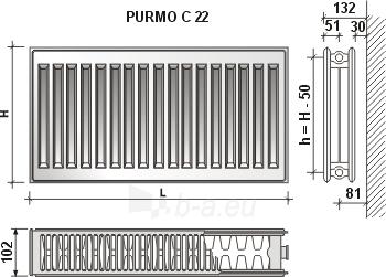 Radiatorius PURMO C 22 500-1100, pajungimas šone Paveikslėlis 5 iš 6 270621000893