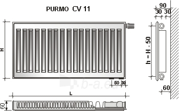 Radiator PURMO CV 11 600-800, connection bottom Paveikslėlis 9 iš 10 270622000642