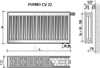 Radiatorius PURMO CV 22 600-800, pajungimas apačioje Paveikslėlis 9 iš 10 270622000830