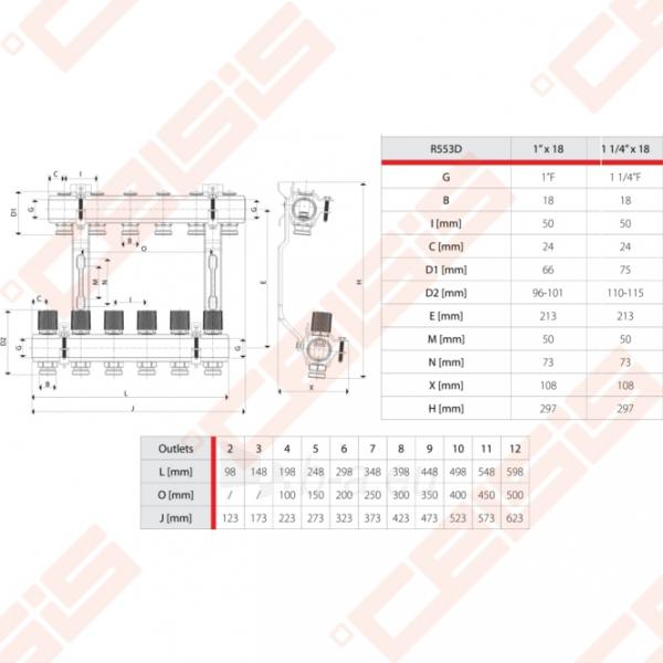 Reguliuojamas kolektorius Giacomini 10 žiedų | su balansiniais ventiliais Paveikslėlis 3 iš 3 270331000023