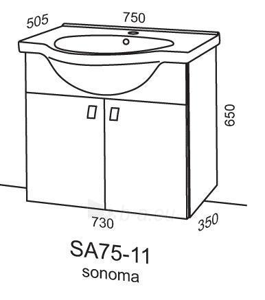 Cabinet vanity Riva75 SA75-11 sonoma Paveikslėlis 2 iš 2 250401000137