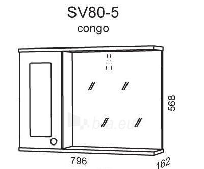 cabinet with mirror Riva80 SV80-5 congo Paveikslėlis 2 iš 2 250401000095