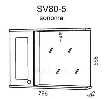 cabinet with mirror Riva80 SV80-5 sonoma Paveikslėlis 2 iš 2 250401000099