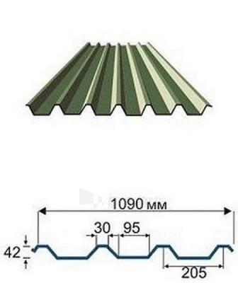 Trapecinio profilio skarda AP-45 0,5 mm (pural) Paveikslėlis 1 iš 1 237110300050