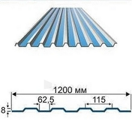 Trapecinio profilio skarda AP-8 0,45 mm (poliesteris) Paveikslėlis 1 iš 2 237110300035