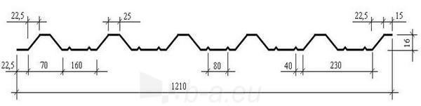 Trapecinio profilio skarda PL16+ (poliesteris) Paveikslėlis 2 iš 2 237110300011