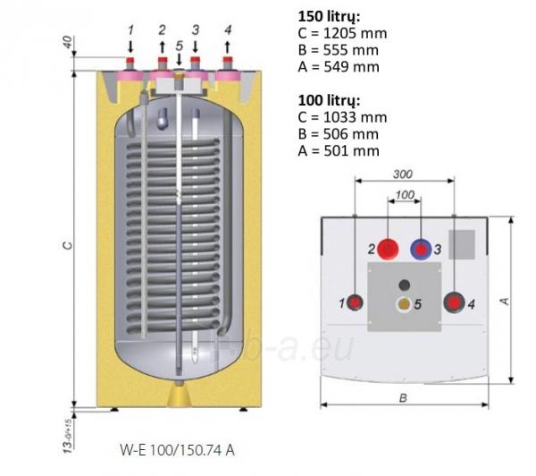 Vandens šildytuvas NIBE-BIAWAR QUATTRO W-E150.74 150L vertikalus, be teno, pastatomas Paveikslėlis 2 iš 2 271420000163