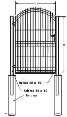 Swing Gates (single leaf) A type 1500x1000mm (filler-segment) painted Paveikslėlis 1 iš 1 239370000253