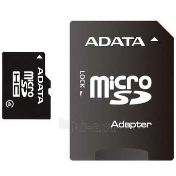 A-DATA 16GB microSDHC Card (Class 4) with 1 Adapter, retail Paveikslėlis 1 iš 1 250255120674