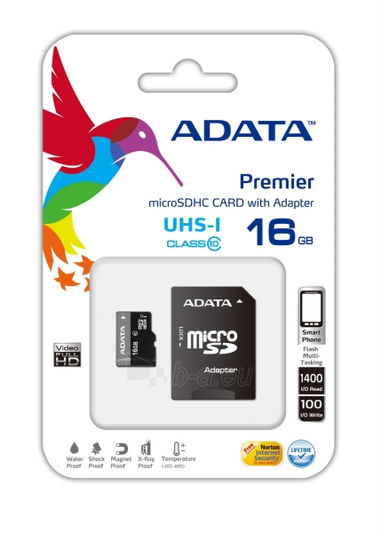 A-DATA 16GB Premier microSDHC UHS-I U1 Card (Class 10) with 1 Adapter, retail Paveikslėlis 1 iš 1 250255121012