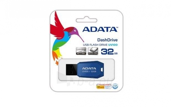 A-DATA DashDrive UV100 32GB Blue USB Flash Drive, Retail Paveikslėlis 1 iš 1 250255121780