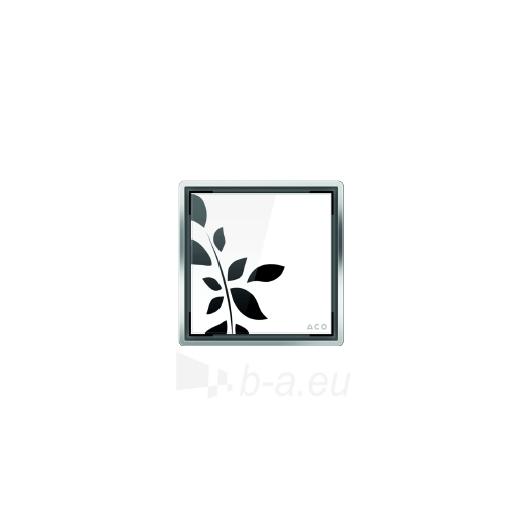 Aco kvadratinės stiklo grotelės, baltos su gėlėmis Paveikslėlis 1 iš 1 270790000042