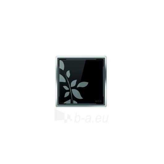 Aco kvadratinės stiklo grotelės, juodos su gėlėmis Paveikslėlis 1 iš 1 270790000044