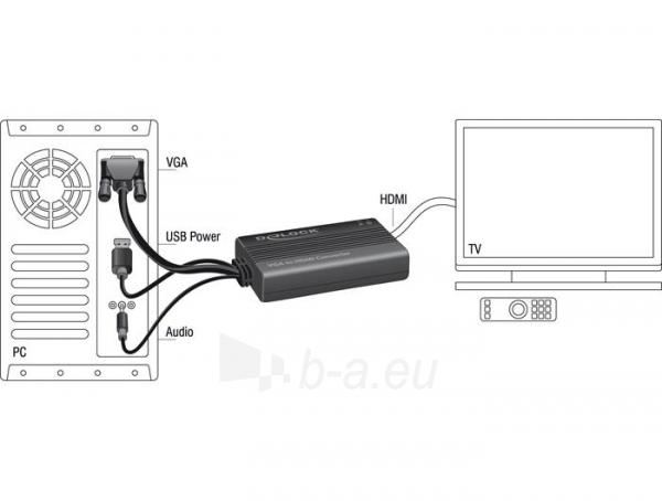 Adapteris Delock VGA to HDMI Adapter with Audio Paveikslėlis 2 iš 2 250255081598