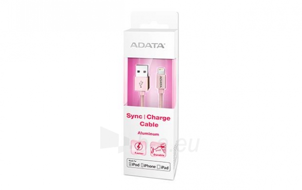 ADATA Sync and Charge Lightning Cable, USB, MFi (iPhone, iPad, iPod), Rose Gold Paveikslėlis 1 iš 2 310820044127
