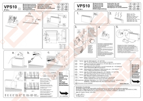 ADAX Elektrinis radiatorius atsparus aptaškymui VPS1008 KEM (325x696x84); su elektroniniu termostatu Paveikslėlis 4 iš 4 270683000140