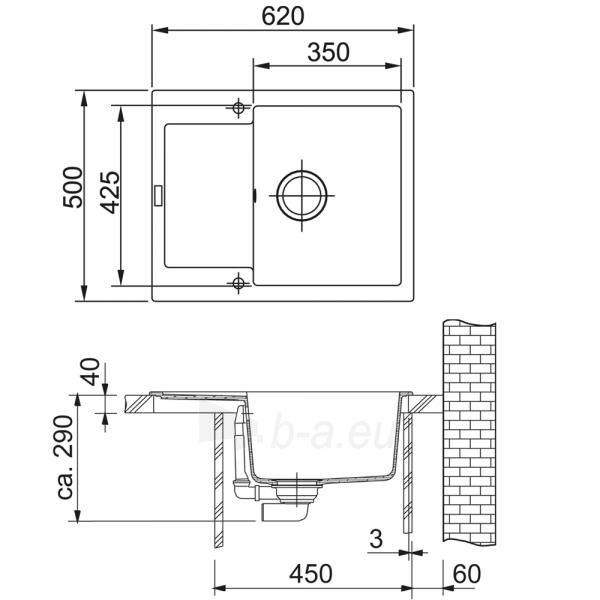 Akmens masės plautuvė FRANKE MRG 611-62 Grafitas Paveikslėlis 4 iš 4 270712000320