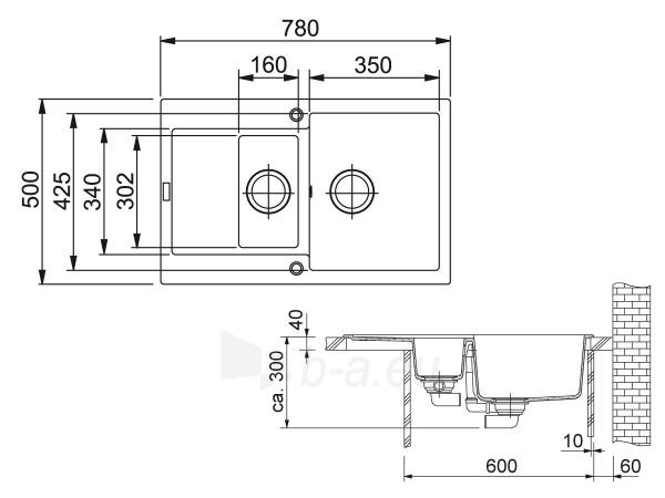 Akmens masės plautuvė FRANKE MRG 651-78 Grafitas Paveikslėlis 5 iš 5 270712000347