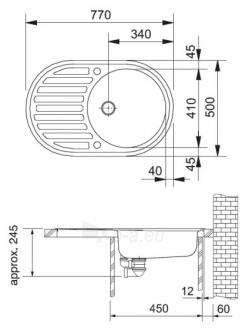 Akmens masės plautuvė FRANKE RONDA ROG 611 Biežinė, ventilis ekscentrinis Paveikslėlis 3 iš 9 271521000099