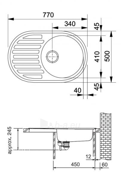 Akmens masės plautuvė FRANKE RONDA ROG 611 Biežinė, ventilis ekscentrinis Paveikslėlis 9 iš 9 271521000099