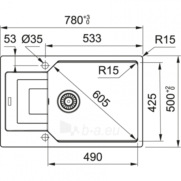 Akmens masės plautuvė Franke Urban, UBG 611-78 XL, Graphit Paveikslėlis 4 iš 5 310820237786