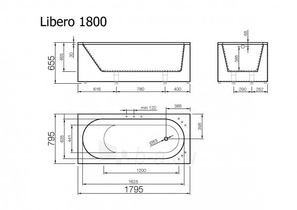 Akmens masės vonia Libero 1800x800 mm, balta Paveikslėlis 2 iš 3 310820163452