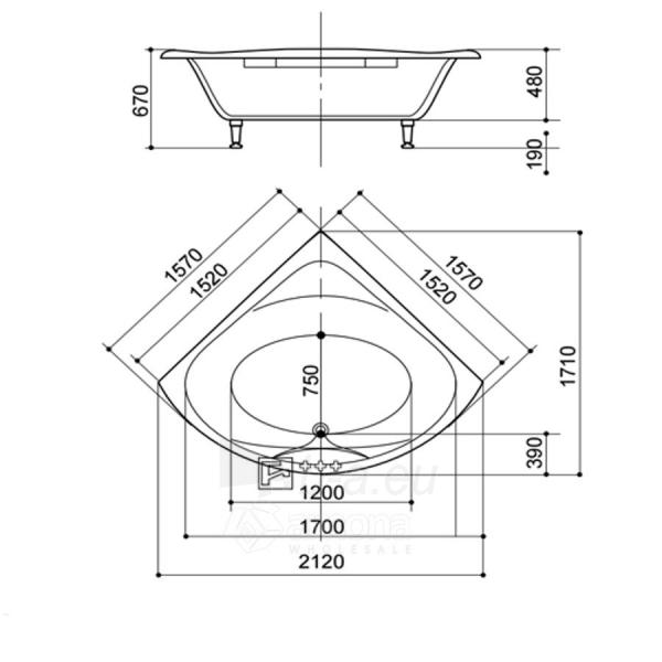 Akmens masės Vonia SPN Aleksandra 152x152 cm. Paveikslėlis 3 iš 3 310820216316