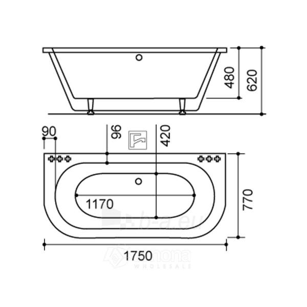 Akmens masės Vonia SPN Amanda 175x77 cm. Paveikslėlis 2 iš 3 310820216323