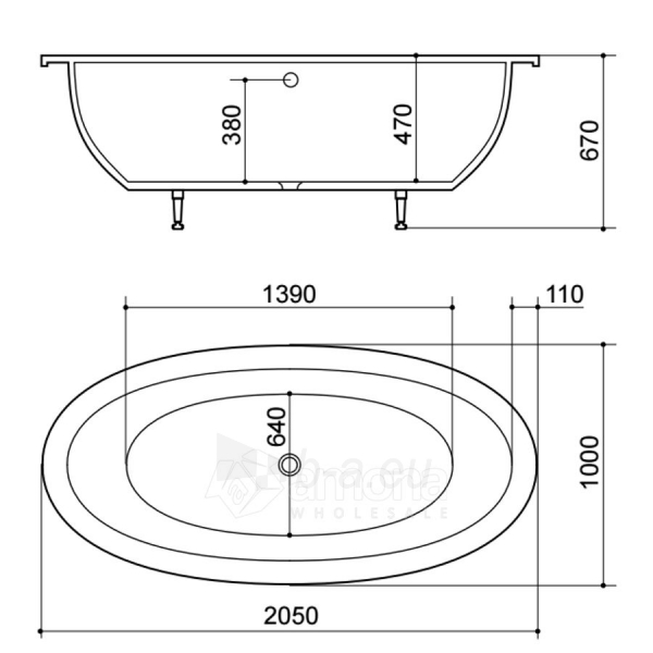 Akmens masės Vonia SPN Bella 205x100 cm. Paveikslėlis 2 iš 4 310820216334