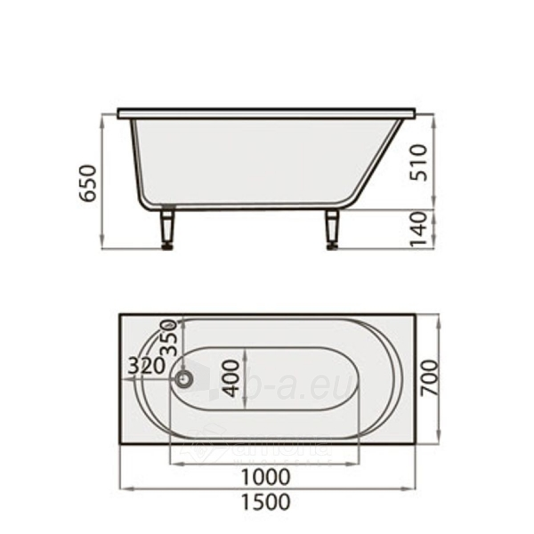 Akmens masės Vonia SPN Camilla 150x70 cm. Paveikslėlis 2 iš 3 310820216322