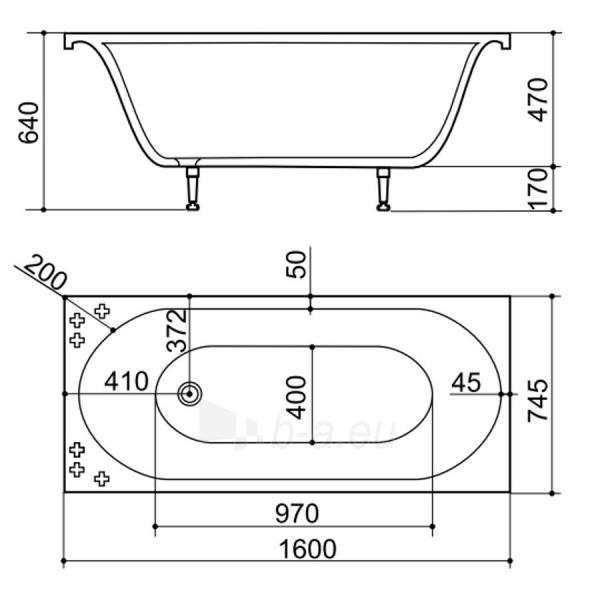 Akmens masės Vonia SPN Katrina 160x75 cm. Paveikslėlis 2 iš 3 310820216335