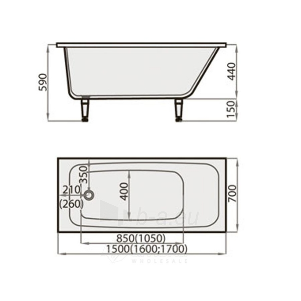 Akmens masės Vonia SPN Klassika 150x70 cm. Paveikslėlis 3 iš 3 310820216327