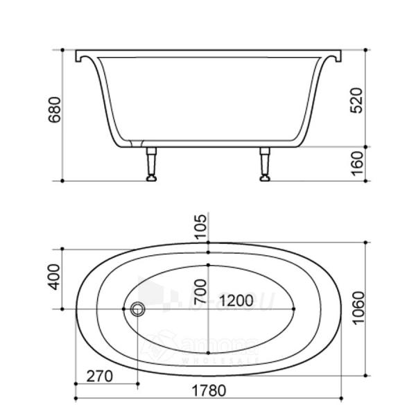 Akmens masės Vonia SPN Marina 178x106 cm. Paveikslėlis 2 iš 2 310820216325