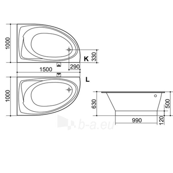 Akmens masės Vonia SPN Olivija 150x100 cm. Paveikslėlis 2 iš 4 310820216336