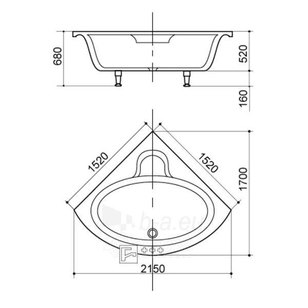 Akmens masės Vonia SPN Patricija 152x152 cm. Paveikslėlis 3 iš 3 310820216317