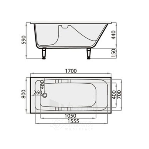 Akmens masės Vonia SPN Sofija 170x80 cm. Paveikslėlis 3 iš 3 310820216331
