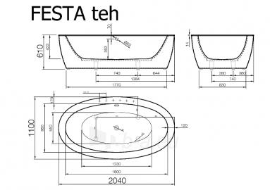 Akmens masės vonia VISPOOL FESTA 2040x1100 balta su apdailomis Paveikslėlis 6 iš 8 270716000555